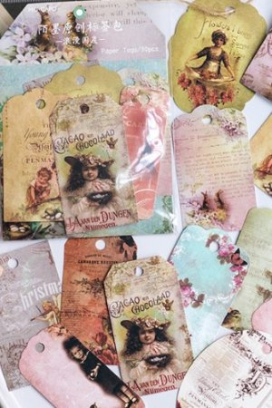 Photo1: Vintage Style Hemp Tag Card Set - Romantic Country