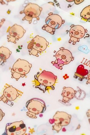 Photo1: Kawaii Planner Stickers Set -  Pink Pig