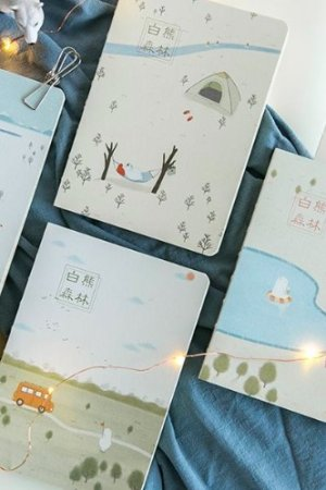 Photo1: Kawaii Binding Note Book -  white bear forest