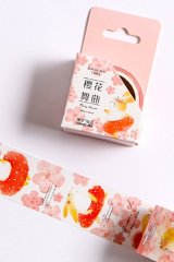 Kawaii Washi Masking Tape - Forest Party - Cherry Blossom Dance