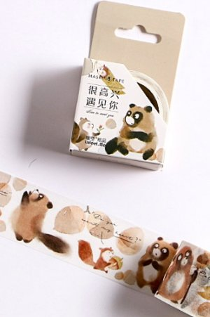 Photo1: Kawaii Washi Masking Tape - Forest Party - nice to meet you