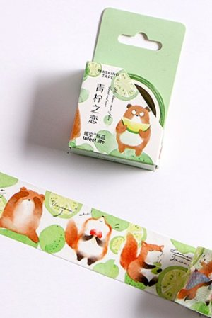 Photo1: Kawaii Washi Masking Tape - Forest Party - Green lime love