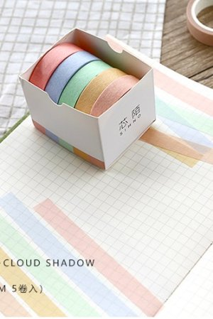 Photo1: Kawaii Washi Bujo Planner Masking Tape - Pure Color - Cloud Shadow