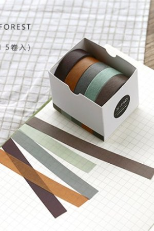 Photo1: Kawaii Washi Bujo Planner Masking Tape - Pure Color - Forest