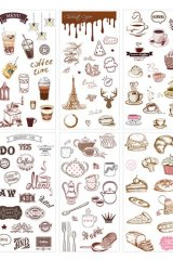 SALE - Kawaii Planner Stickers Set - Fresh Water Color - Coffee House