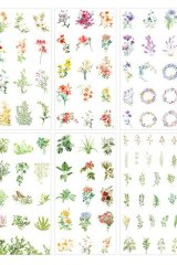 SALE - Kawaii Planner Stickers Set - Fresh Water Color - Green Red Flowers