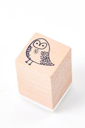 Photo1: Lovely Wooden Rubber Stamp - Little Forest - Owl