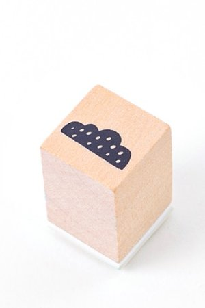 Photo1: Lovely Wooden Rubber Stamp - Little Forest - Cloud