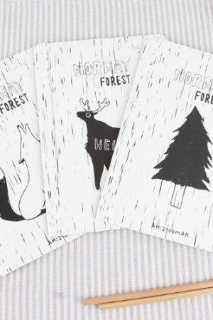Photo1: new Kawaii Paper Line Note Book - Norway Forest