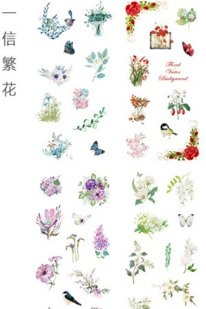 Photo1: Kawaii Planner Stickers Set - Fresh Water Cartoon - Floral Mail
