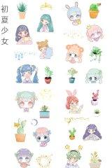 Kawaii Planner Stickers Set - Fresh Water Cartoon - Summer Girl