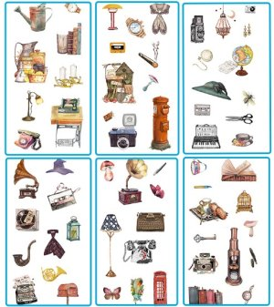 Photo2: Kawaii Planner Stickers Set - Fresh Water Cartoon - Vintage Items