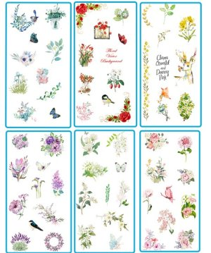 Photo2: Kawaii Planner Stickers Set - Fresh Water Cartoon - Floral Mail