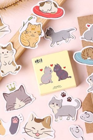 Photo1: Lovely Planner Paper Label Sticker Box - cat diary