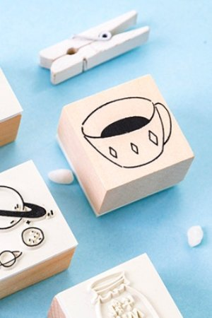 Photo1: Lovely Wooden Rubber Stamp - Salt - Coffee