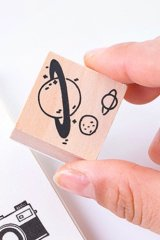 Lovely Wooden Rubber Stamp - Salt - Planet