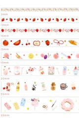 Kawaii Washi Masking Tape Set - Floral World - Eat 01