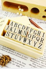 Cute Wood Stamps Set - Alphabet