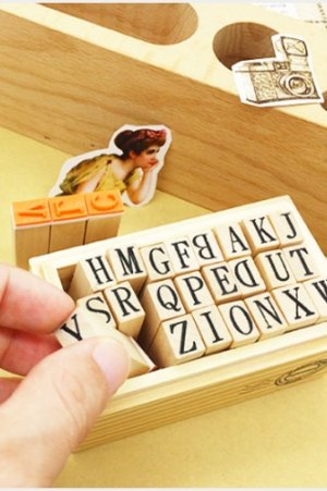 Photo2: Cute Wood Stamps Set - Alphabet