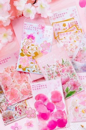 Photo3: Kawaii DIY Gilding Sticker Sack - Cherry Blossom - Pink story