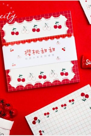 Photo1: Message Notes Paper Memo - sweet fruits - cherry