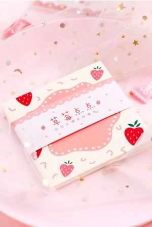 Photo1: Message Notes Paper Memo - sweet fruits - strawberry