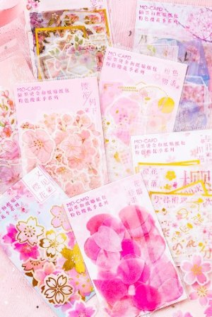Photo2: Kawaii DIY Gilding Sticker Sack - Cherry Blossom - Pink story