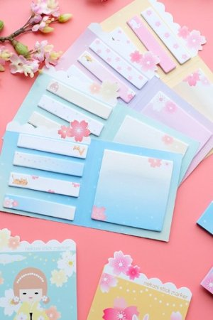 Photo1: Message Notes Paper Memo - cherry blossom animal