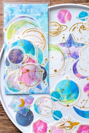 Photo1: Kawaii Washi Paper Gilding Seal Sticker Sack - Star Last Night - Starry Sky