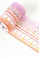 Kawaii Washi Masking Tape Set - Basic Patterns - Pink soda