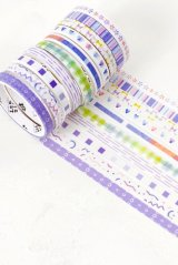 Kawaii Washi Masking Tape Set - Basic Patterns - flower heart