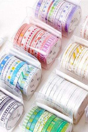 Photo2: Kawaii Washi Masking Tape Set - Basic Patterns - silver