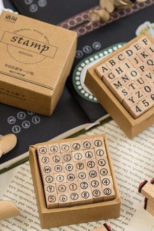 Photo1: Lovely Wooden Rubber Stamp - Alphabet