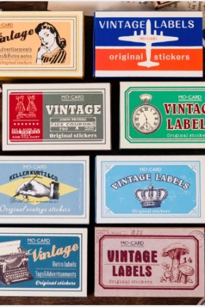 Photo1: Vintage Style DIY Illustrative Match Box Label Sticker Set