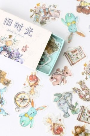 Photo1: Vintage Style Planner DIY Paper Label Sticker Box - old time