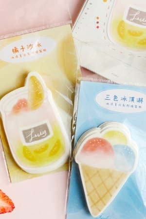 Photo1: Kawaii die-cut Message Notes Paper Note Memo - icy summer