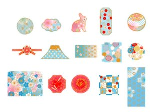 Photo2: Washi Paper Gilding Seal Sticker Sack - Japanese Traditional Style - Flower Year