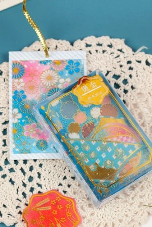 Photo1: Washi Paper Gilding Seal Sticker Sack - Japanese Traditional Style - Flower Year