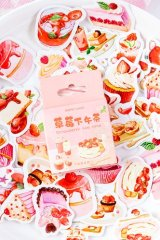 Kawaii Bujo Journal Planner Seal Label Sticker Box - Strawberry Afternoon Tea