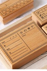 Lovely Wooden Planner Bujo Supplies Stamp Set - Function - memo list