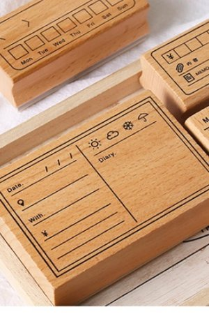 Photo1: Lovely Wooden Planner Bujo Supplies Stamp Set - Function - memo list