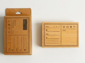Photo2: Lovely Wooden Planner Bujo Supplies Stamp Set - Function - memo list