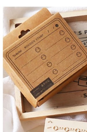Photo1: Lovely Wooden Planner Bujo Supplies Stamp Set - Function - mini diary