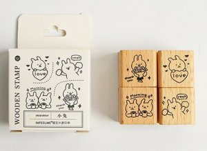 Photo2: Lovely Wooden Planner Bujo Supplies Stamp Set - animal - rabbit