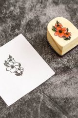Lovely Wooden Rubber Stamp - Foggy forest  - flower