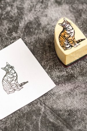Photo1: Lovely Wooden Rubber Stamp - Foggy forest  - cat