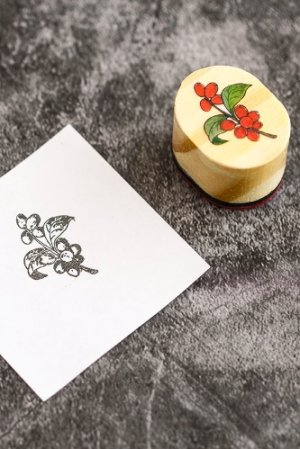 Photo1: Lovely Wooden Rubber Stamp - Foggy forest  - berry
