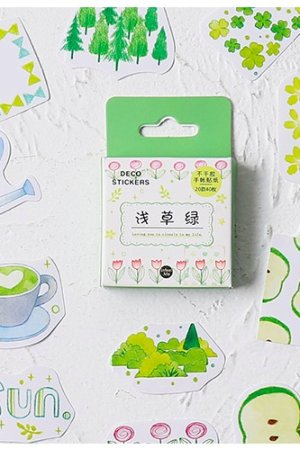 Photo1: Lovely Planner Paper Label Sticker Box - Beautiful Life - green