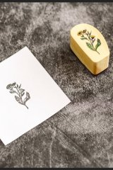 Lovely Wooden Rubber Stamp - Foggy forest  - wild flowers