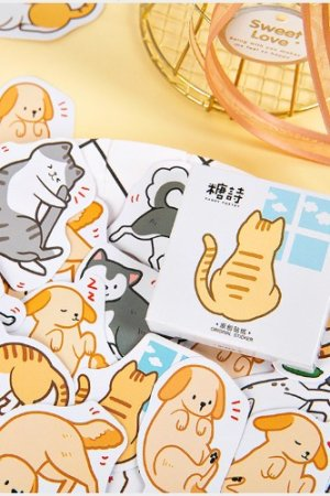 Photo1: Lovely Planner Paper Label Sticker Box - DAILY friends cat dog